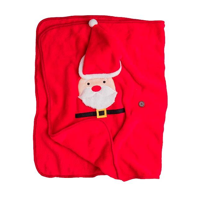Hugger vánoční fleecová deka se Santa Clausem - foto