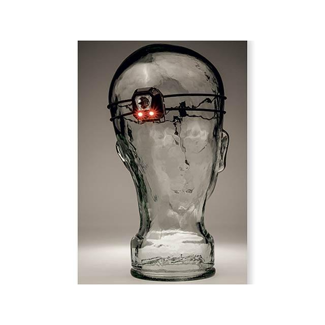 BEAMER - plastová 1 W + 2x červená LED čelovka, BEAVER - foto