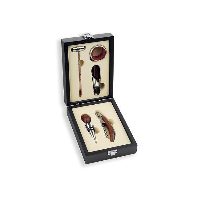 CLAYTON - 5dílná sada na víno v dřevěné dárkové krabičce - foto