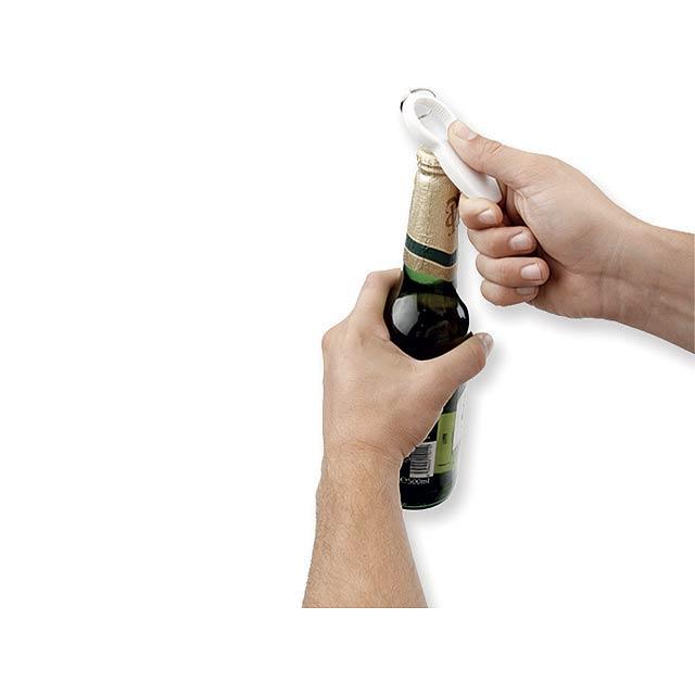 REZA - Plastový multifunkční otvírák na lahve se třemi funkcemi.         - foto