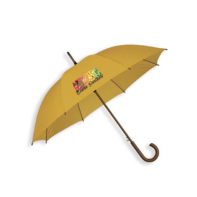 AUTOMATIC - Polyesterový deštník s automatickým otvíráním a dřevěnou rukojetí, 8 panelů.       - foto