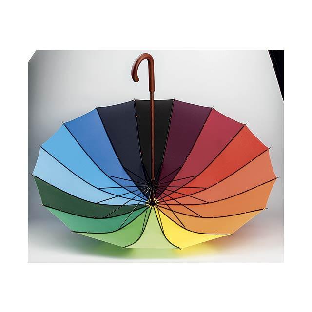 DUHA polyesterový manuální deštník,16 panelů, Vícebarevná - foto