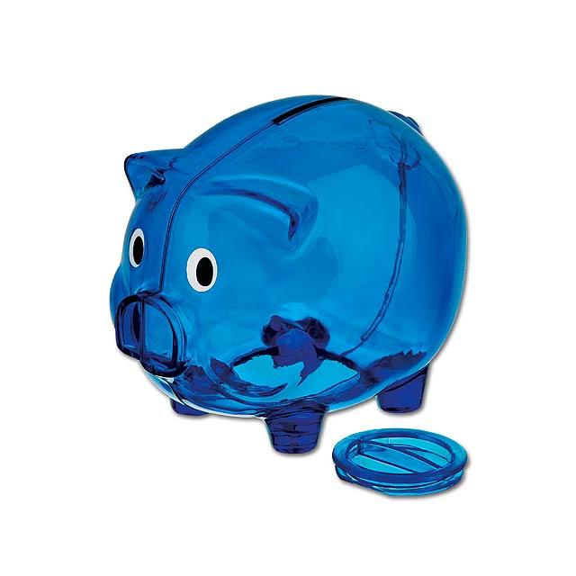 OSWALD - Sparbüchse aus Kunststoff. - blau