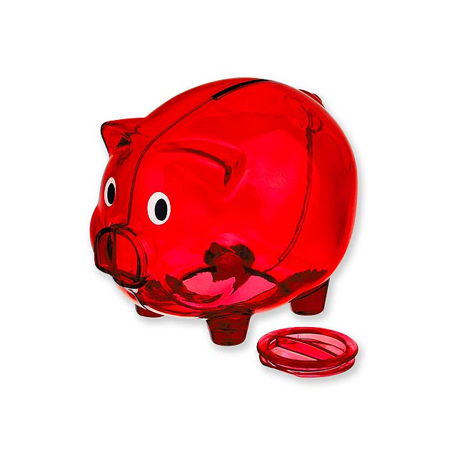 OSWALD - Sparbüchse aus Kunststoff. - Rot