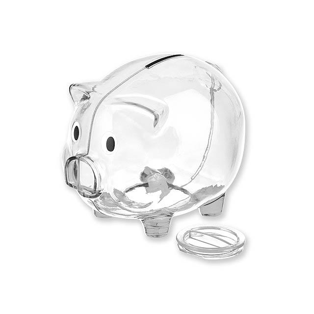 OSWALD - plastová pokladnička - transparentní