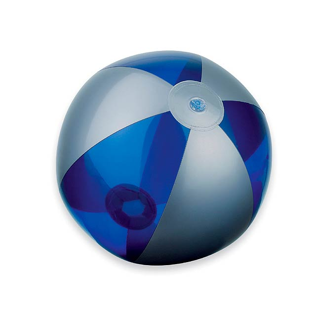 BEACH - plastový nafukovací míč, 6 panelů - modrá