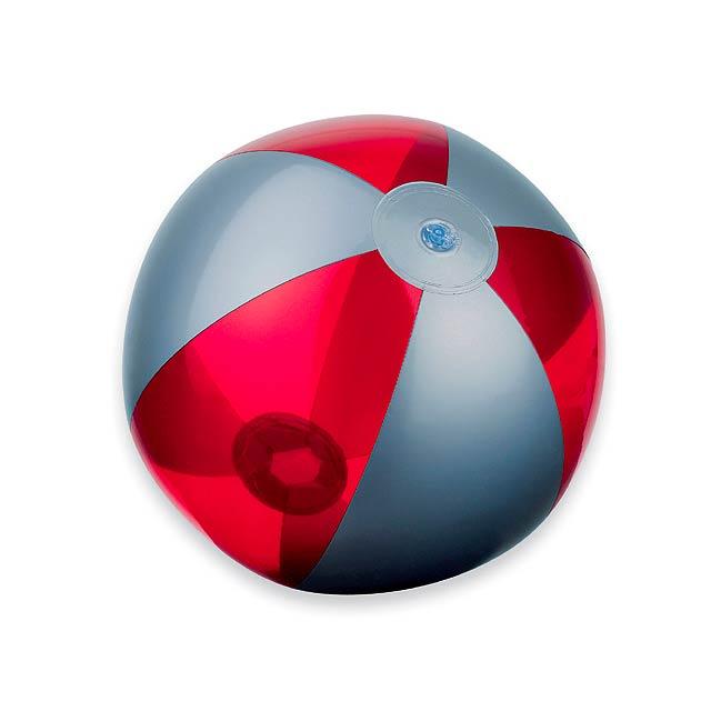BEACH - plastový nafukovací míč, 6 panelů - červená