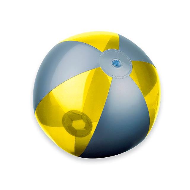 BEACH - plastový nafukovací míč, 6 panelů - žlutá