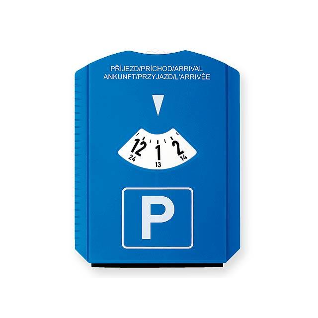 LAURIEN - plastové parkovací hodiny se škrabkou - modrá