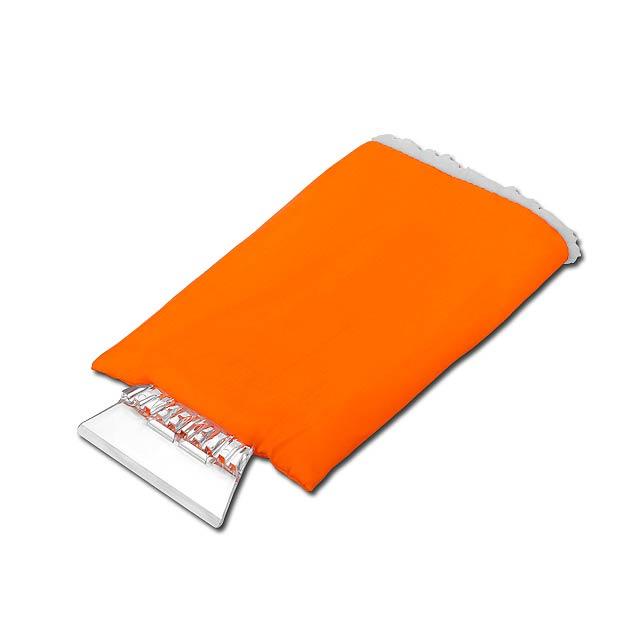 GLOVE - plastová škrabka s rukavicí - oranžová