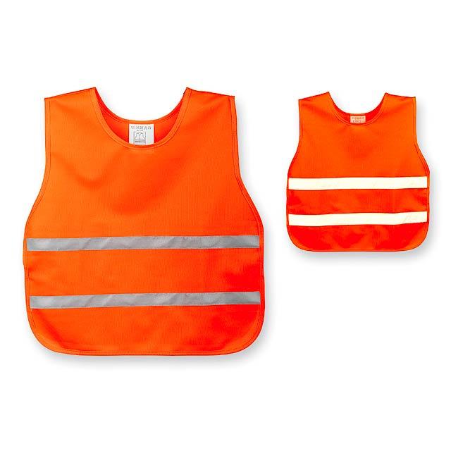 SKIBI II - polyesterová reflexní vesta, dětská velikost - oranžová
