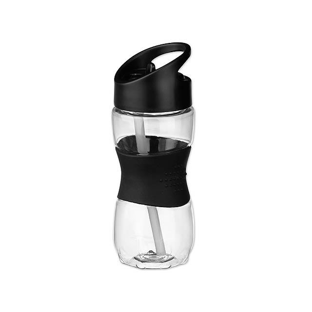 ELIJAH - plastová sportovní láhev, 350 ml - černá