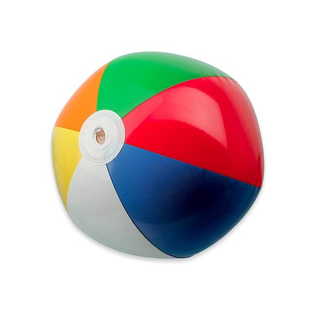 BEACH COLOUR - plastový nafukovací míč, 6 panelů -
