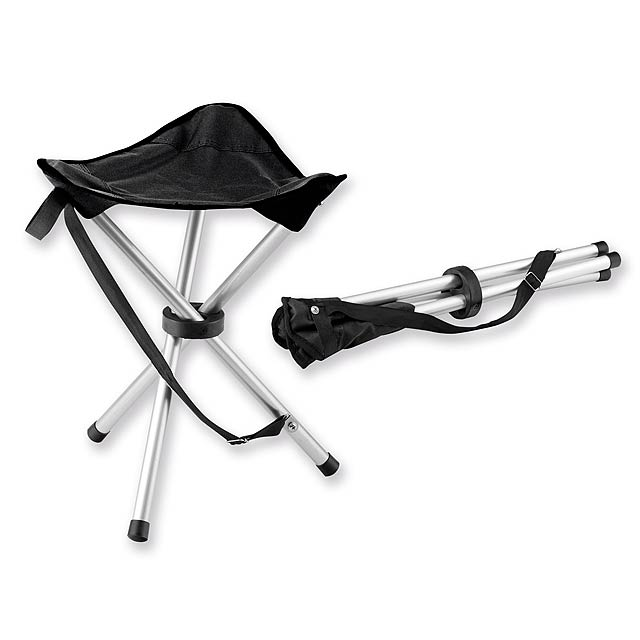 TRAMPER - Foldable polyester tripod seat with metal construction, maximum load 100 kg. - black