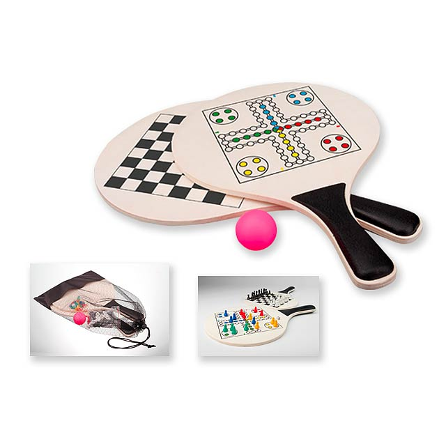 DUEL sada her, 2x pálky, 1x míček, šachy a člověče nezlob se, Vícebarevná - multicolor