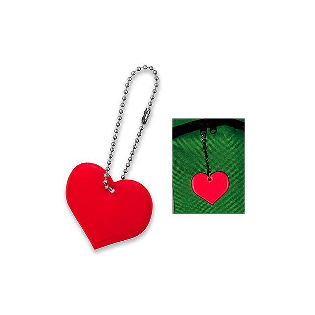 HEARTIVE - plastový přívěsek - reflexní - červená