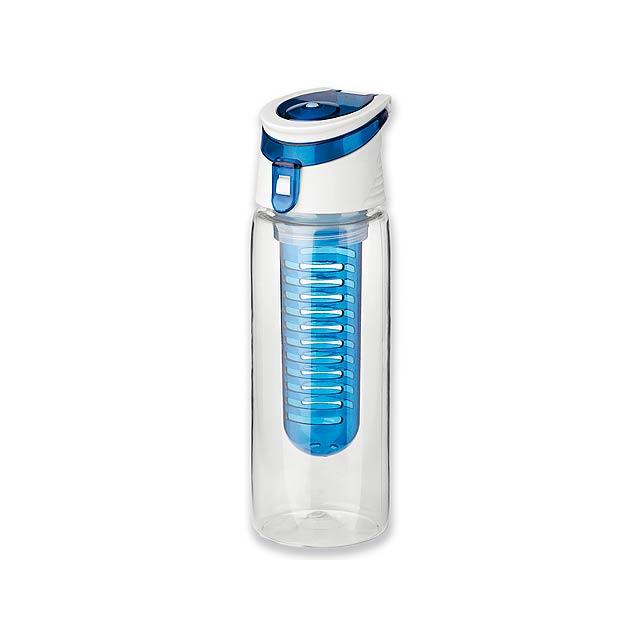 INFUSER - Sportovní tritanová láhev o objemu 700 ml s infuzérem a víkem.      - modrá