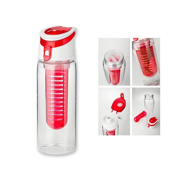 INFUSER - Sportovní tritanová láhev o objemu 700 ml s infuzérem a víkem.      - červená
