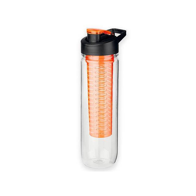 FRUITER - Sportovní tritanová láhev o objemu 900 ml s infuzérem a víkem.      - oranžová