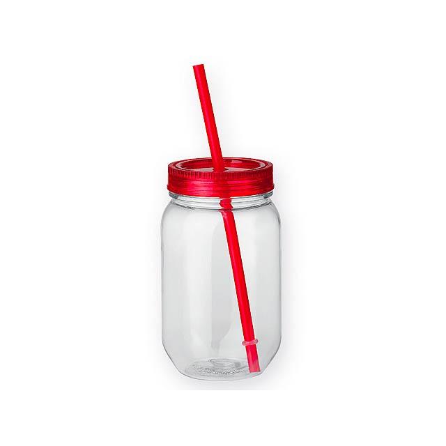 STRAW - plastová láhev s brčkem, 550 ml - červená