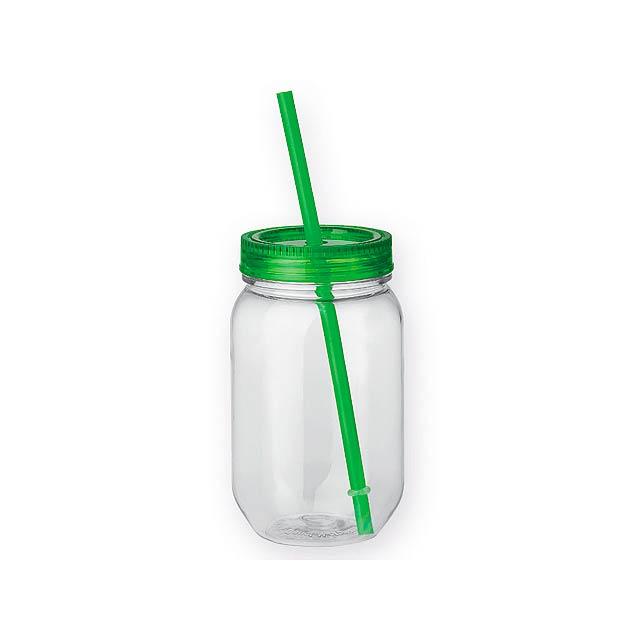 STRAW - plastová láhev s brčkem, 550 ml - zelená