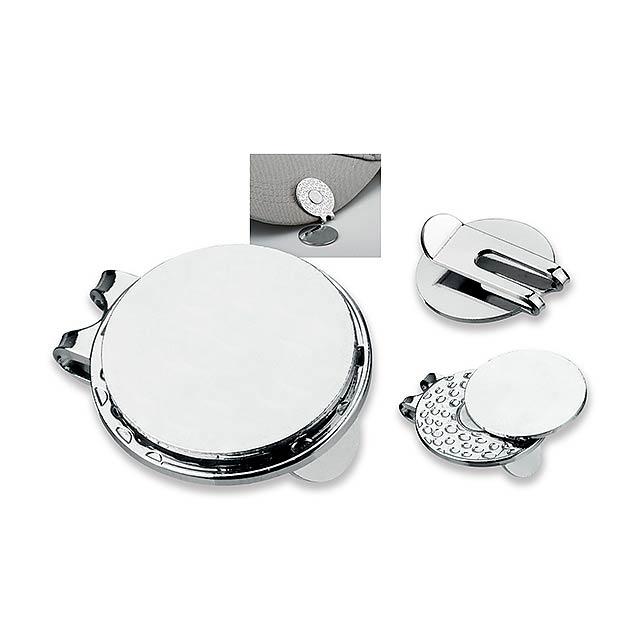 GOLFER - kovový klip na kšiltovku s markovátkem - stříbrná
