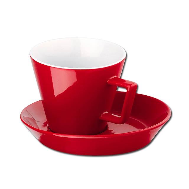 CLAUDE - keramický šálek s podšálkem, 150 ml - červená