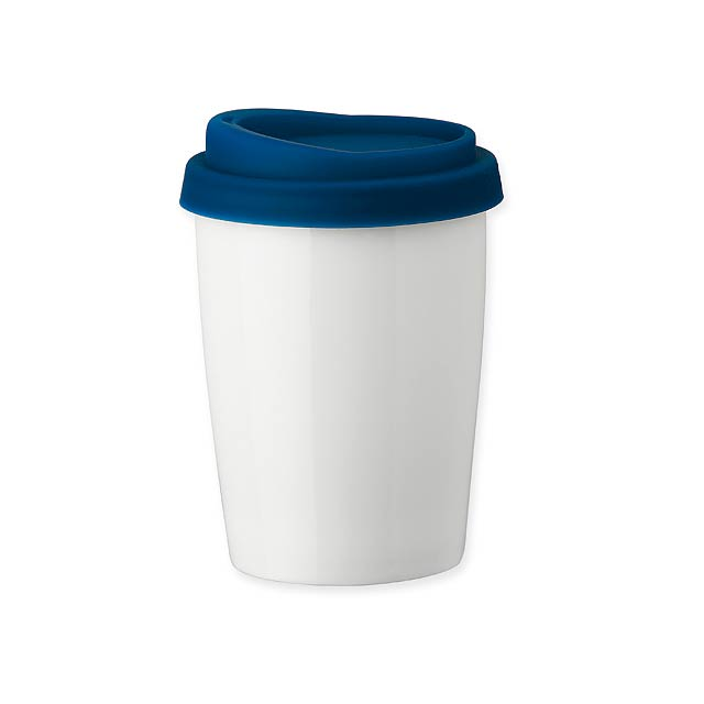 DUWAL - porcelánový hrnek s dvojitou stěnou - modrá