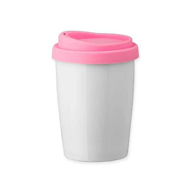 DUWAL - porcelánový hrnek s dvojitou stěnou - růžová