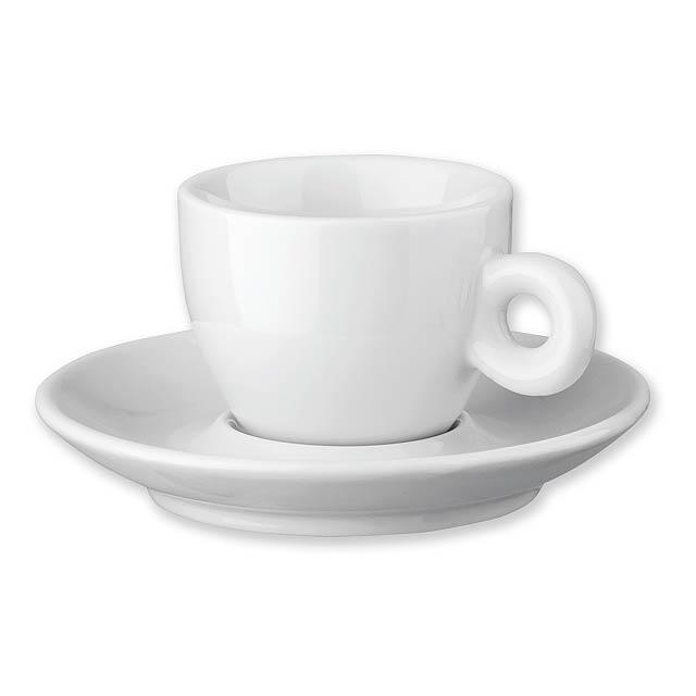 PRESSO - porcelánový šálek s podšálkem, 75 ml - bílá