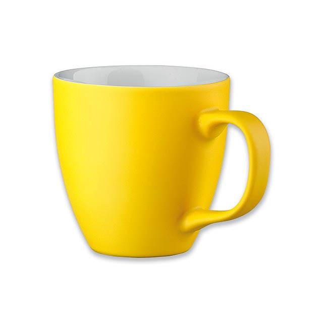PANTHONY MAT - porcelánový hrnek o objemu, 440 ml - žlutá
