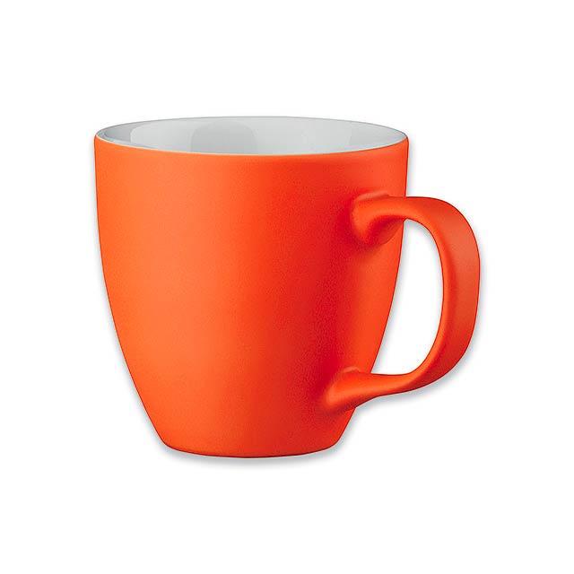 PANTHONY MAT porcelánový hrnek o objemu, 460 ml, Oranžová - oranžová