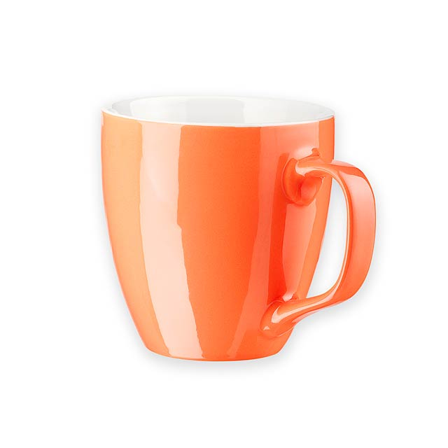 ROYCE - Keramický hrnek o objemu 440 ml, 90 – porcelán.        - oranžová