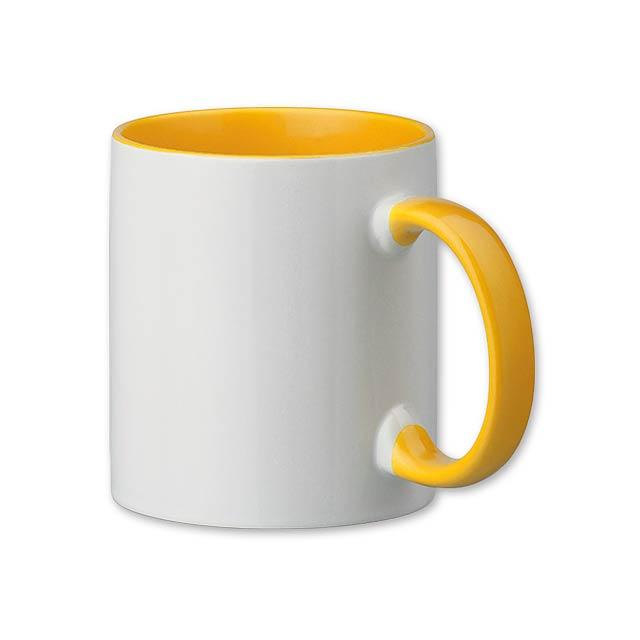 SUBLIM COLOUR - Keramický hrnek o objemu 320 ml, vhodný na celoplošný sublimační potisk.     - žlutá