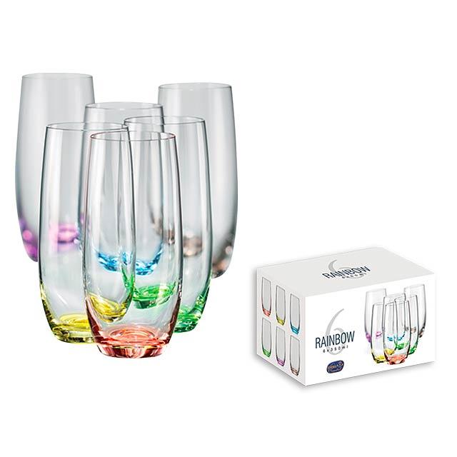 RAINBOW GLASS - 6dílná sada sklenic s barevným dnem o objemu 350 ml.      - multicolor