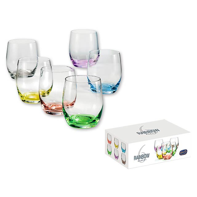 RAINBOW SHOTS - 6dílná sada sklenic na alkohol s barevným dnem o objemu 60 ml.    - multicolor