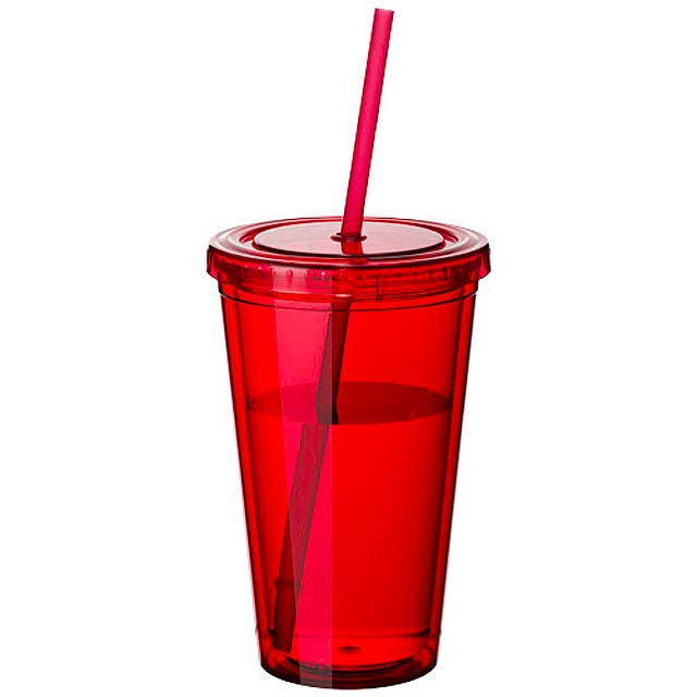 Plastová termo sklenice - červená