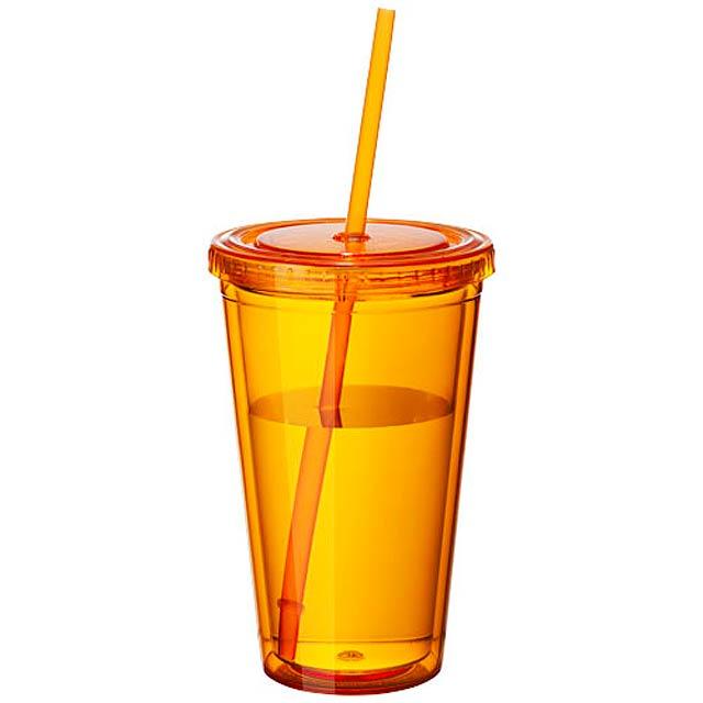 Termopohárek se slámkou Cyclone - transparentní oranžová