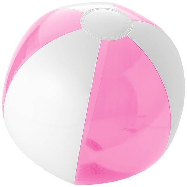 Pevný/průhledný plážový míč Bondi - růžová