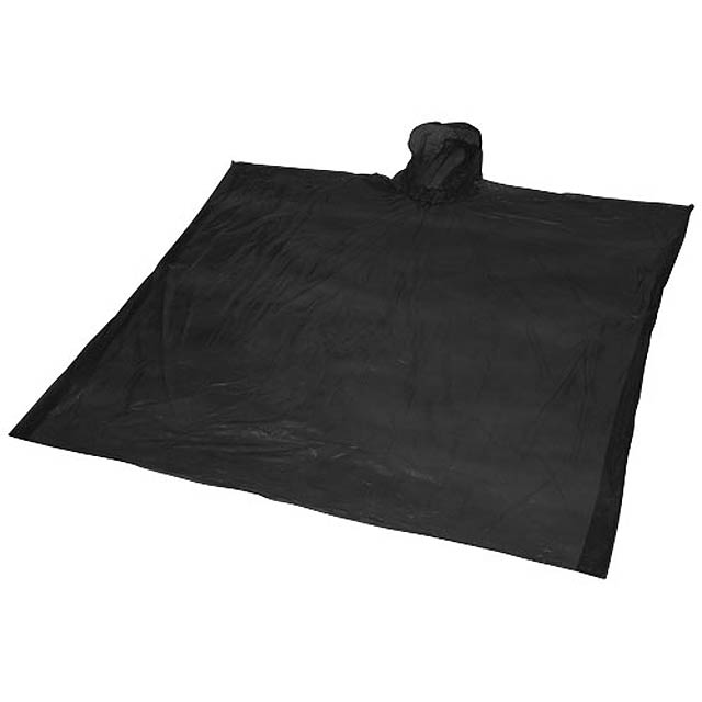 Ziva disposable rain poncho with pouch - black