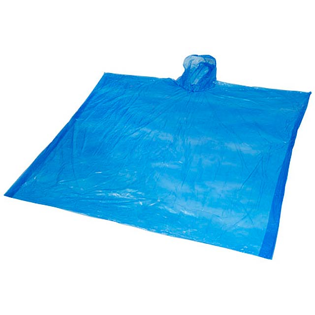 Ziva disposable rain poncho with pouch - royal blue