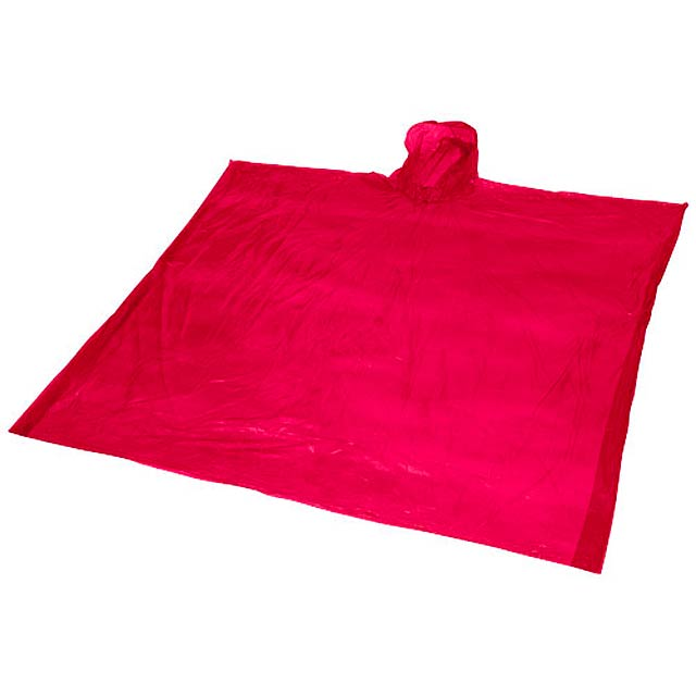 Ziva disposable rain poncho with pouch - red