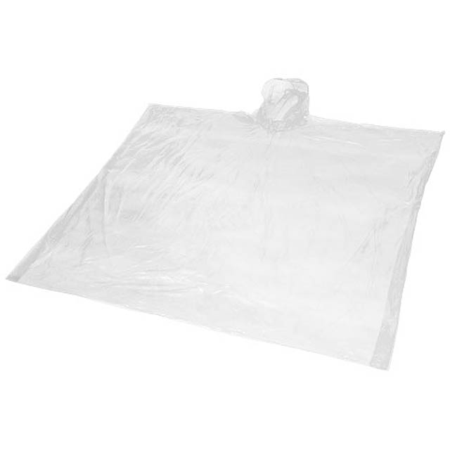 Ziva disposable rain poncho with pouch - white
