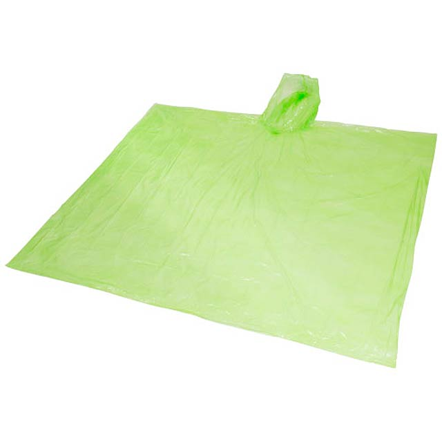 Ziva disposable rain poncho with pouch - lime