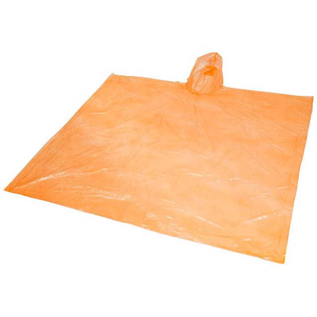 Ziva disposable rain poncho with pouch - orange
