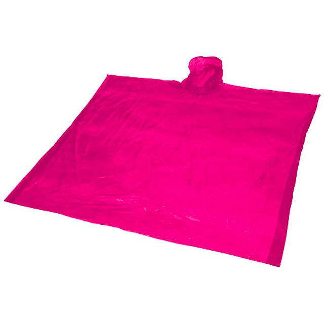 Ziva disposable rain poncho with pouch - pink