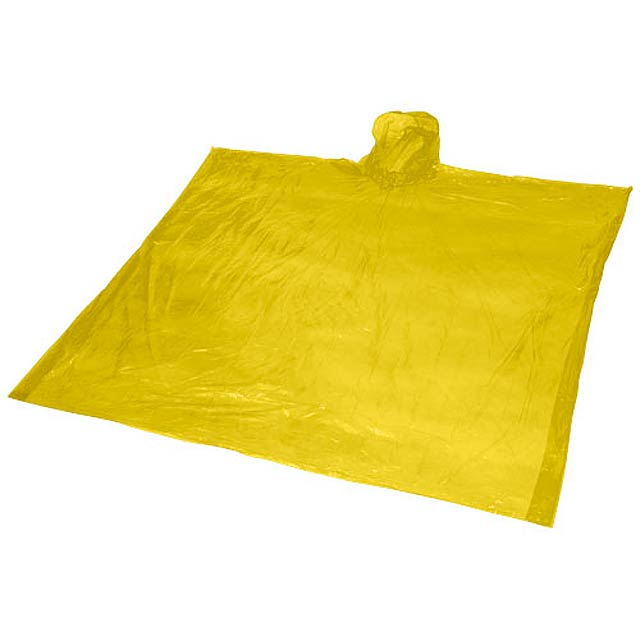 Ziva disposable rain poncho with pouch - yellow