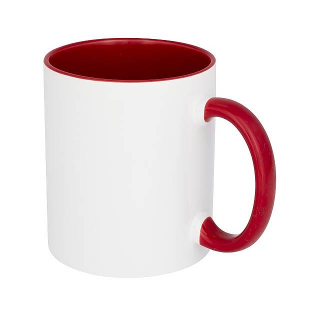 Keramický hrnek Pix 330 ml, barevně zvýrazněný sublimační ti - transparentní červená
