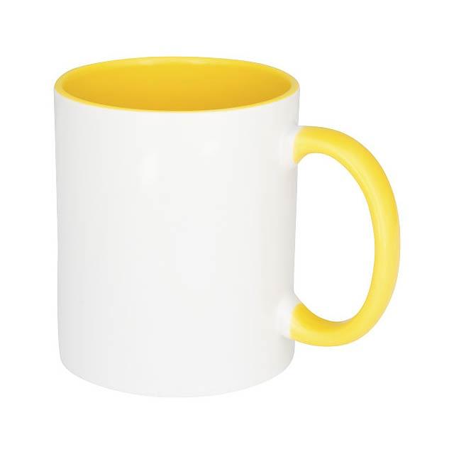 Keramický hrnek Pix 330 ml, barevně zvýrazněný sublimační ti - žlutá