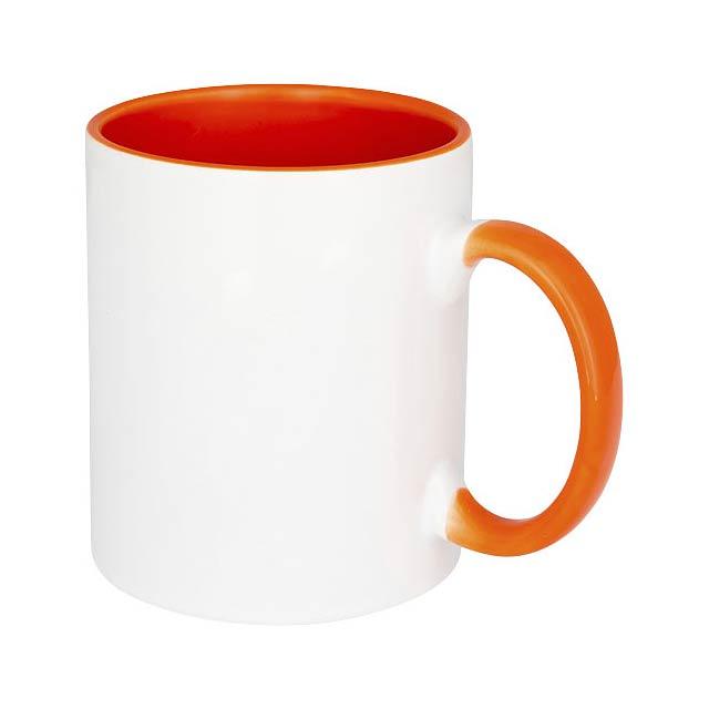 Keramický hrnek Pix 330 ml, barevně zvýrazněný sublimační ti - oranžová